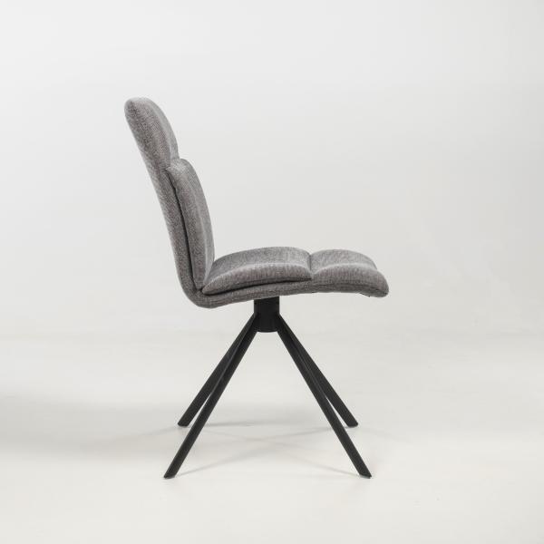 Chaise tournante rembourrée grise - Jacynthe - 16