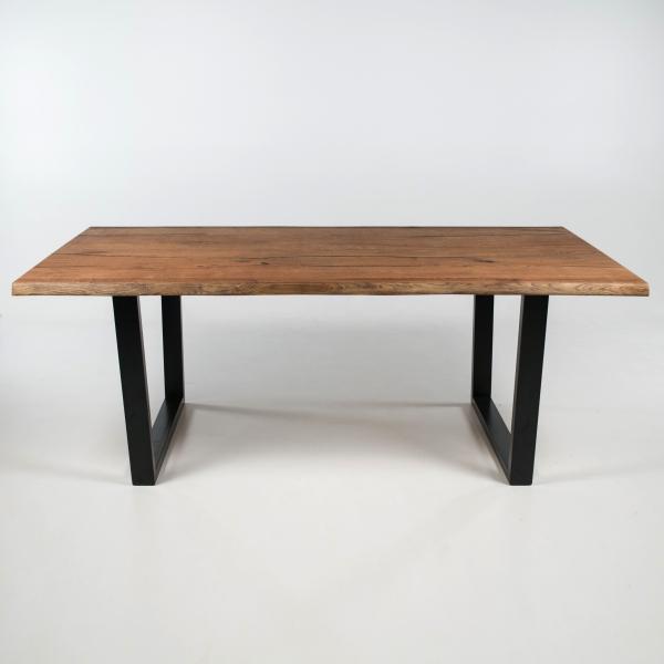 Table style industriel en bois massif avec pieds traîneau - Planète - 3