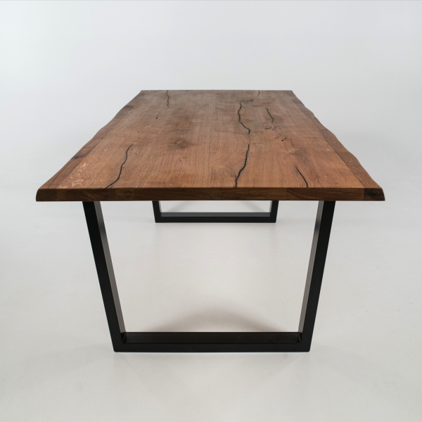 Table design industriel en bois massif avec pieds traîneau - Planète - 5