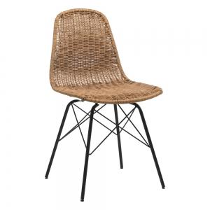 Chaise tressée naturel bohème avec pieds Eiffel - Bornéo