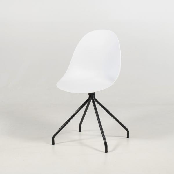 Chaise coque design blanche en polypropylène pieds métal - Comète - 8