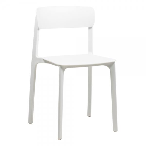 Chaise tendance colorée empilable en polypropylène blanc - Neptune - 16