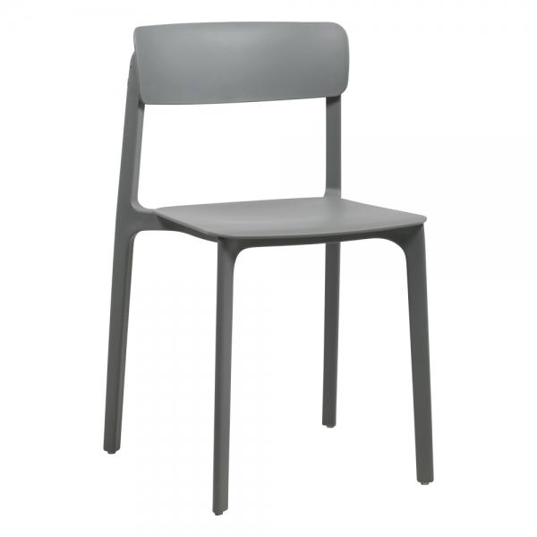 Chaise tendance colorée empilable en polypropylène gris - Neptune - 23
