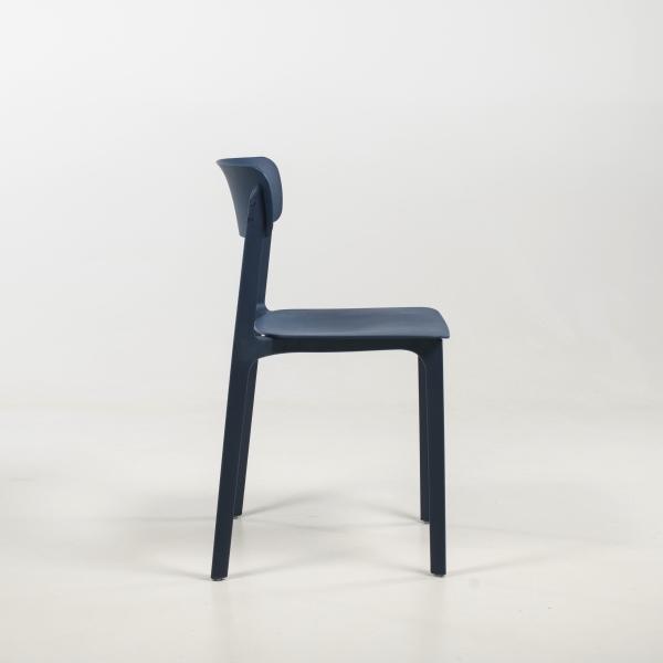 Chaise empilable en polypropylène bleu nuit - Neptune - 33