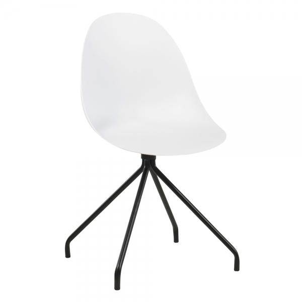 Chaise coque design blanche en plastique pieds métal - Comète - 7