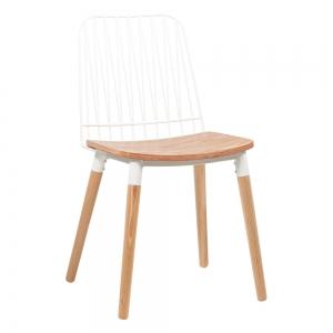 Chaise style bohème en métal blanc et bois - Danemark