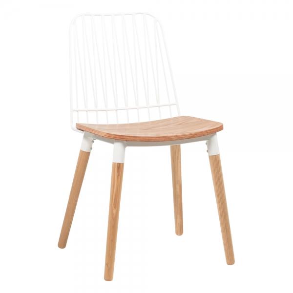 Chaise style bohème en métal blanc et bois - Danemark - 1