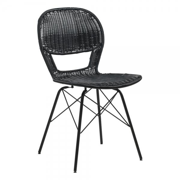 Chaise bohème tressée pieds métal noir - Flores - 9
