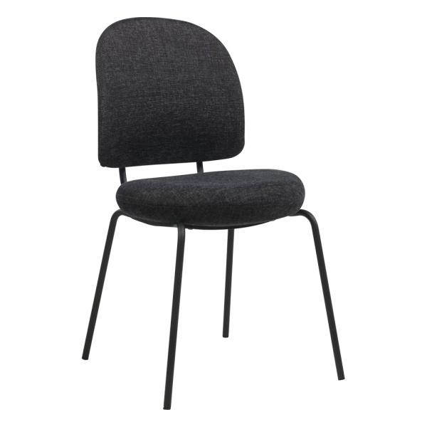 Chaise confortable avec assise et dossier rembourrés coloris gris foncé - Lilas - 1