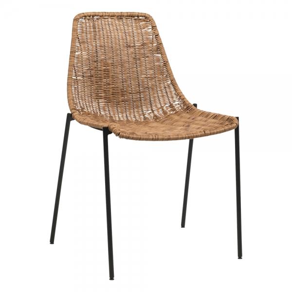 Chaise tressée bohème pieds en métal noir - Lombok - 1