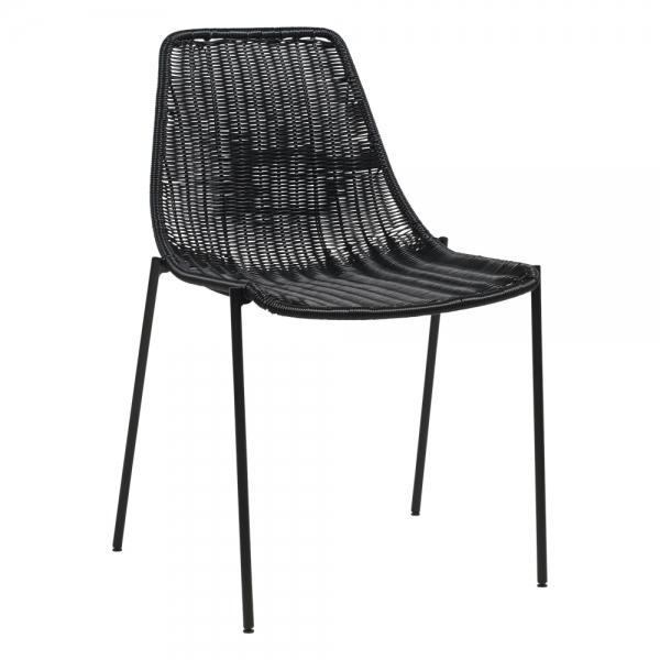Chaise tressée bohème teinte noire pieds en métal noir - Lombok - 8