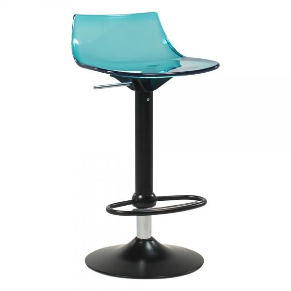 Tabouret réglable design en polycarbonate turquoise transparent et métal noir - Led - 10
