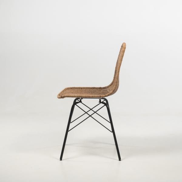 Chaise tressée naturel avec pieds noirs - Bornéo - 5