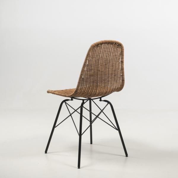 Chaise tressée exotique avec pieds noirs - Bornéo - 7