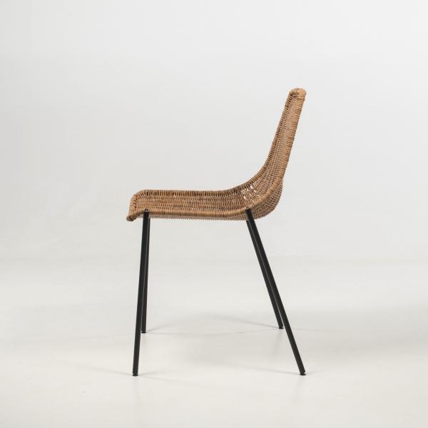 Chaise tressée teinte naturelle pieds en métal noir - Lombok - 5