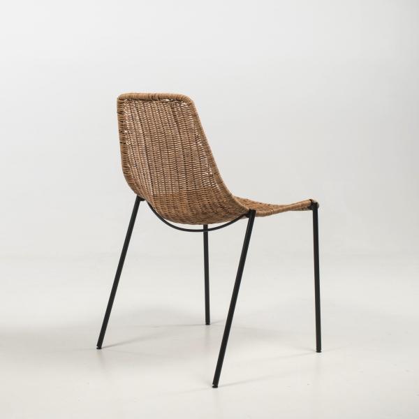 Chaise exotique teinte naturelle pieds en métal noir - Lombok - 6