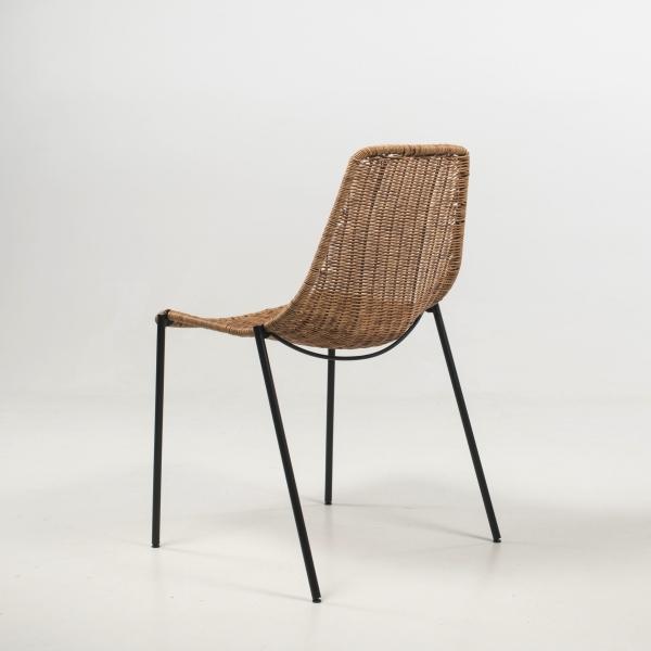 Chaise imitation rotin naturel pieds en métal noir - Lombok - 7
