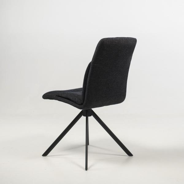 Chaise tournante en tissu gris foncé - Jacynthe - 7