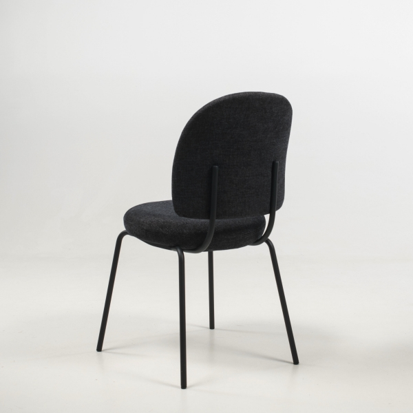 Chaise rembourrée confortable coloris gris foncé - Lilas - 8
