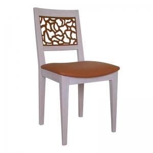 Chaise française de salle à manger en bois assise rembourrée camel - Jennyfer