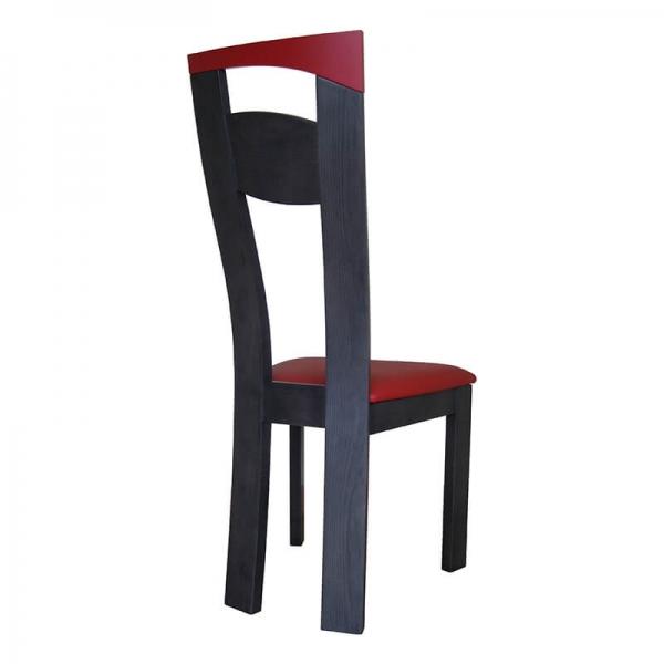 Chaise de fabrication française en synthétique rouge et bois massif noir - Calypso - 3
