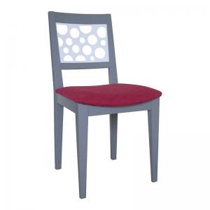 Chaise française en tissu rose et bois massif - Julia