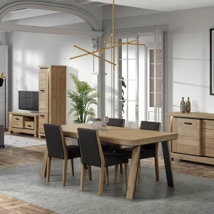 Table de salle à manger en bois avec pieds obliques - Dublin
