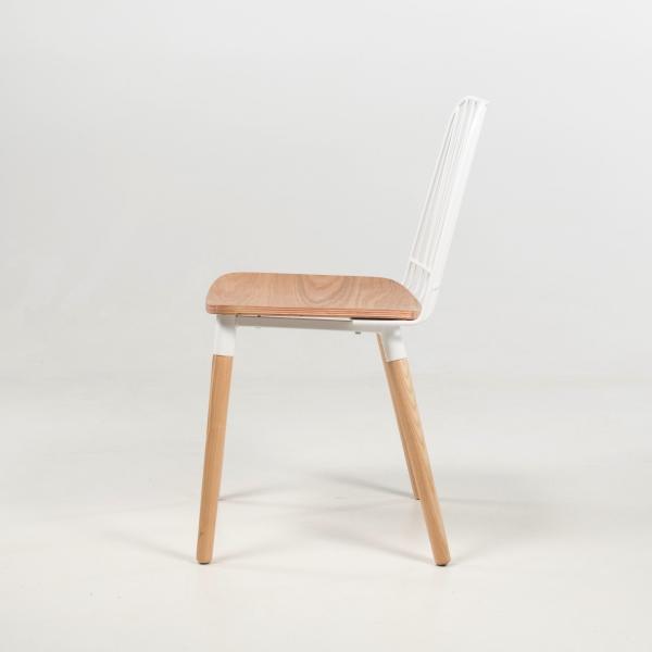 Chaise en métal blanc et bois naturel - Danemark - 4