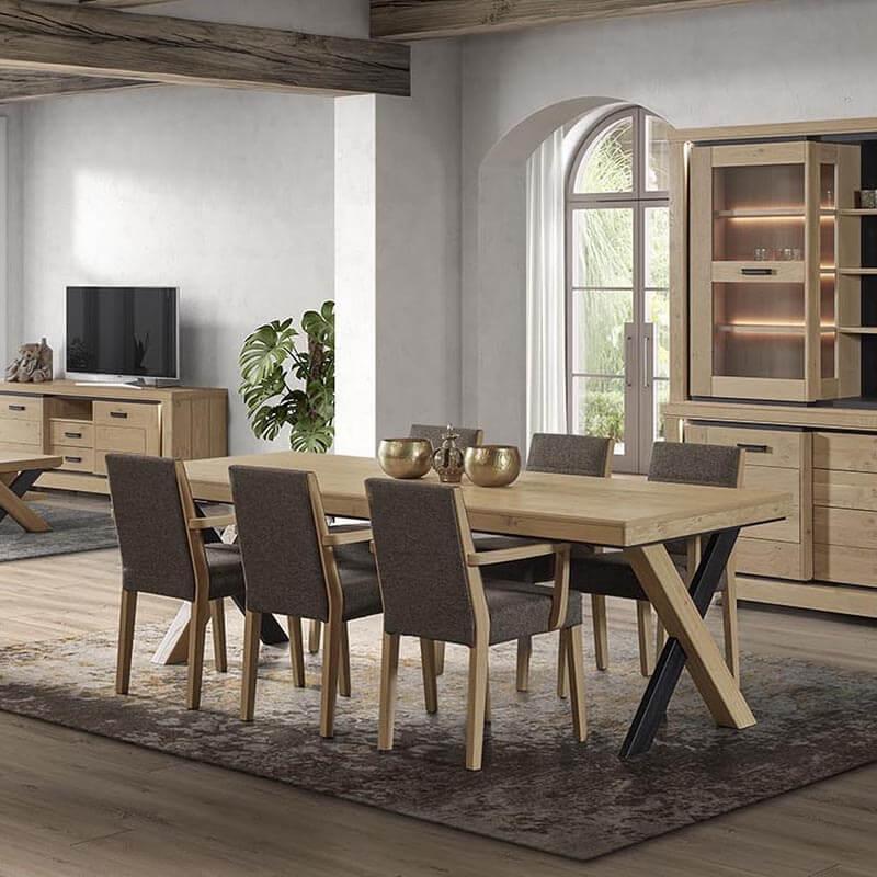 Table de salle manger en bois avec allonges pieds en x - Salle a manger en bois ...