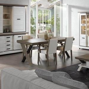 Table de salle à manger en bois avec allonges pieds en X - Dublin