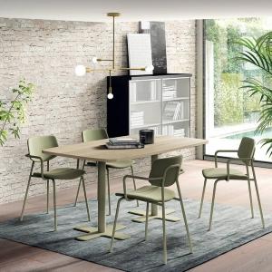 Table en stratifié rectangulaire aux coins arrondis avec deux pieds en métal noir - Spinner 2