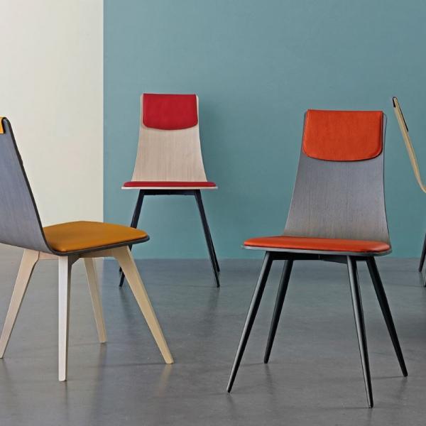Chaise italienne design tricolore avec pieds en métal - Amélie - 2