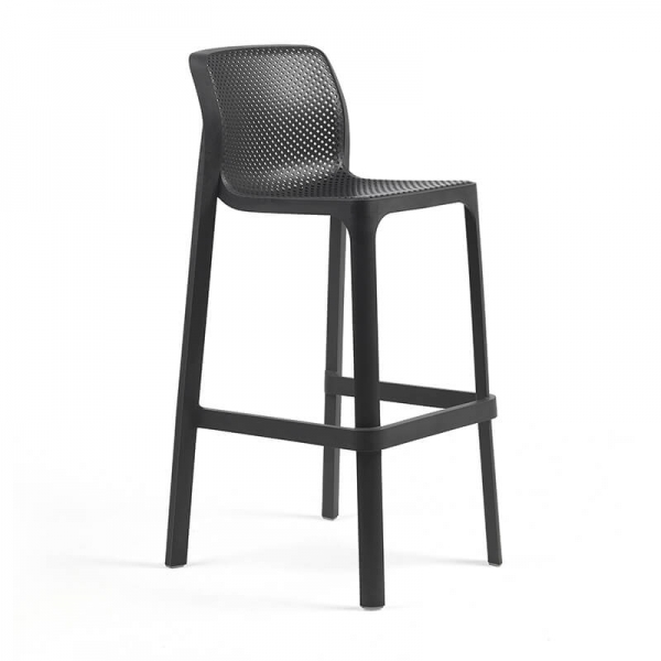 Tabouret de bar extérieur empilable en polypropylène anthracite - Net stool - 1