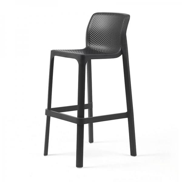 Tabouret de bar extérieur empilable en plastique anthracite - Net stool - 2
