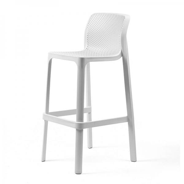 Tabouret de bar extérieur empilable en plastique blanc - Net stool - 4
