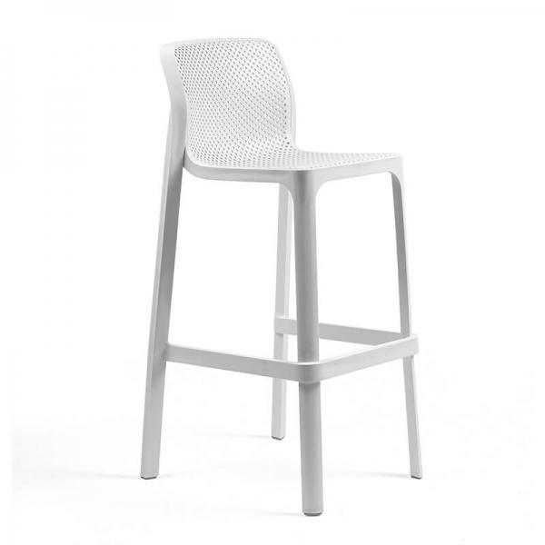 Tabouret de bar extérieur empilable en polypropylène blanc - Net stool - 5