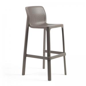 Tabouret de bar extérieur empilable en polypropylène taupe - Net stool