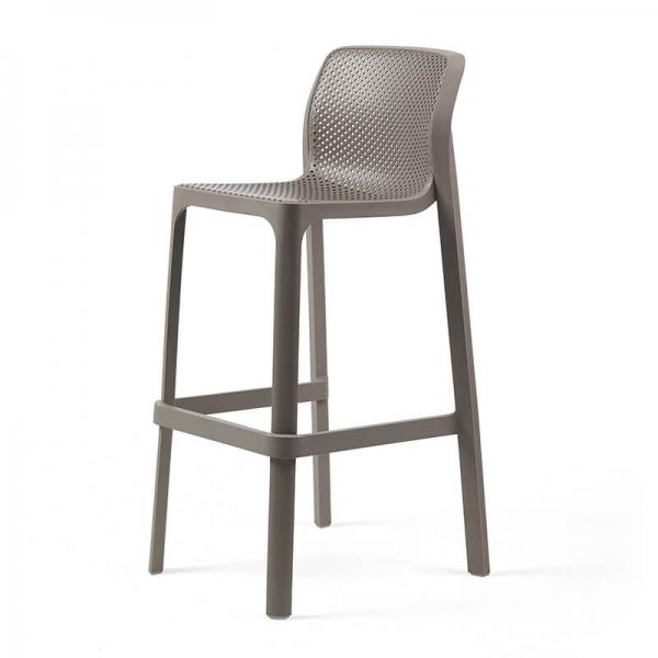 Tabouret de bar extérieur empilable en plastique taupe - Net stool - 2