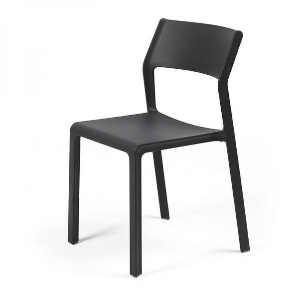 Chaise d'extérieur empilable en polypropylène anthracite - Trill bistrot - 8