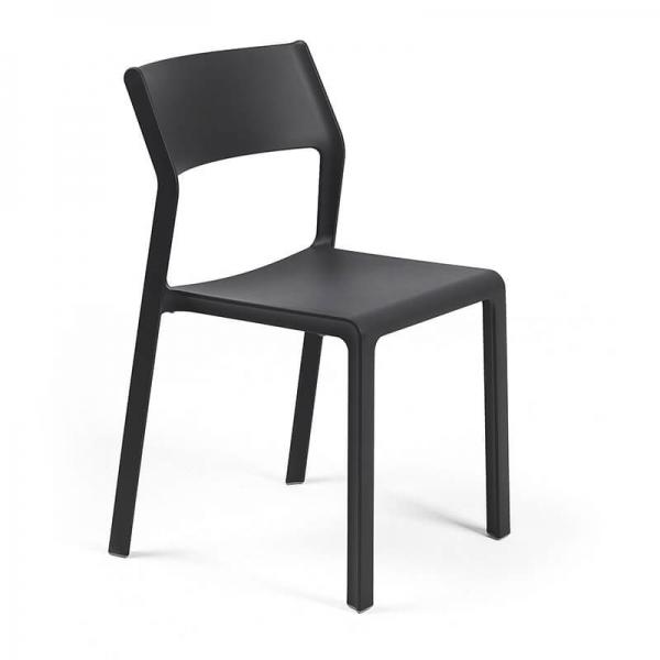 Chaise de jardin empilable en polypropylène anthracite - Trill bistrot - 7