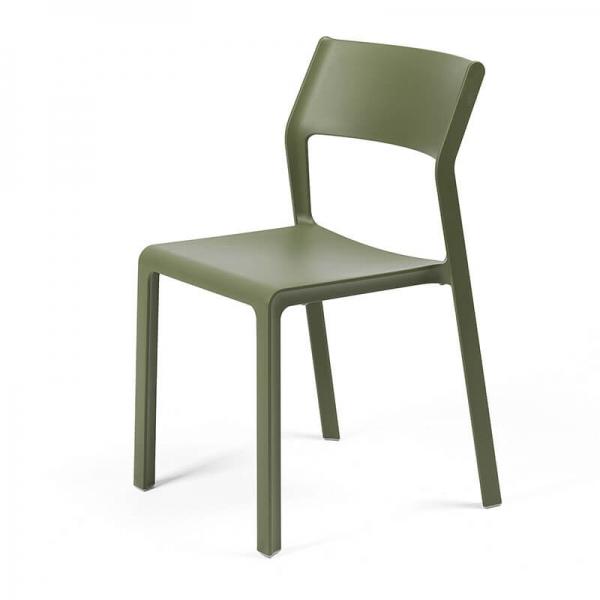 Chaise moderne en plastique vert agave empilable - Trill bistrot - 6