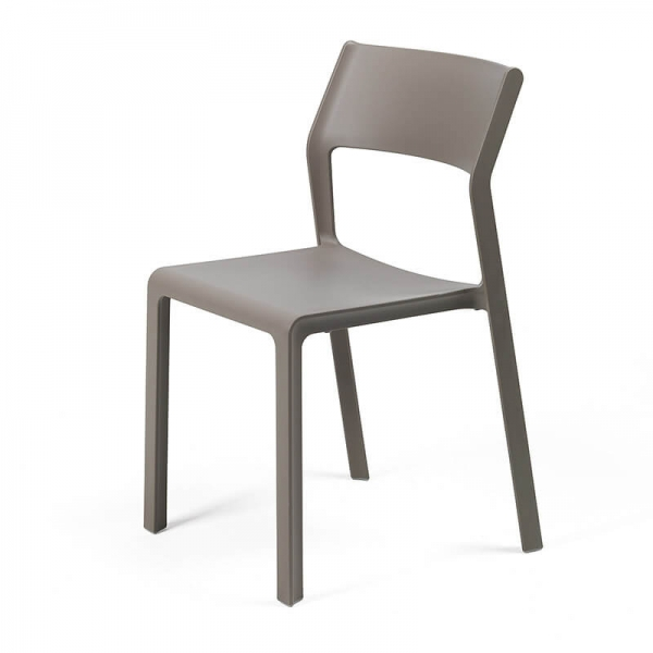 Chaise moderne en plastique taupe empilable - Trill bistrot - 18