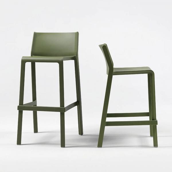 Tabouret de bar de jardin empilable en polypropylène vert agave - Trill stool - 3