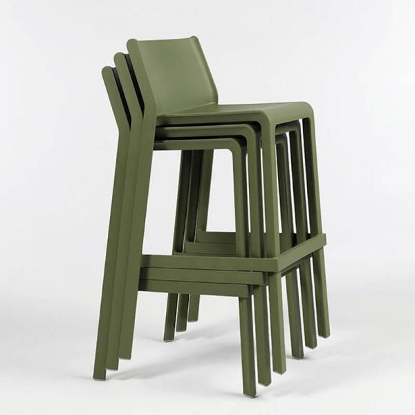 Tabouret de bar de jardin empilable en plastique vert agave - Trill stool - 4