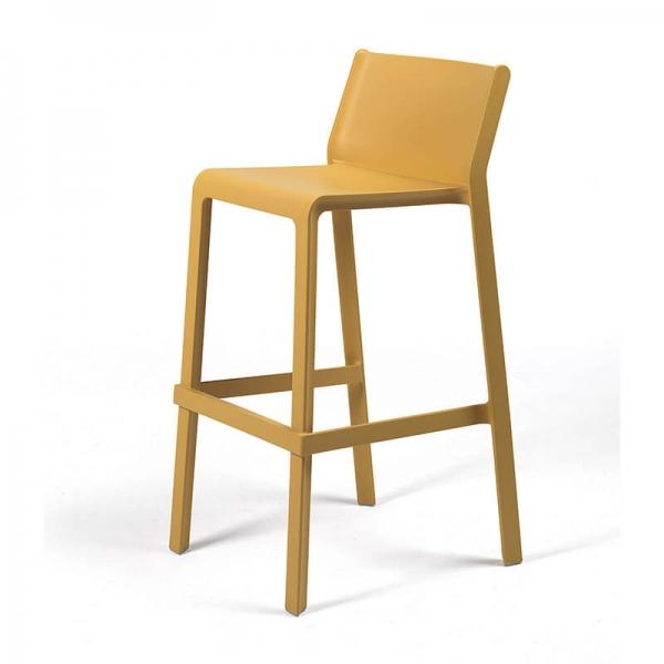 Tabouret de bar de jardin empilable en plastique jaune moutarde - Trill stool - 2