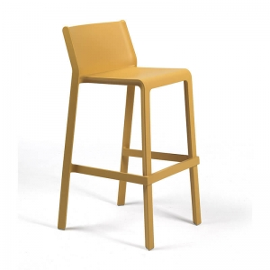 Tabouret de bar de jardin empilable en polypropylène jaune moutarde - Trill stool