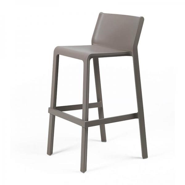 Tabouret de bar de jardin empilable en plastique taupe - Trill stool - 17