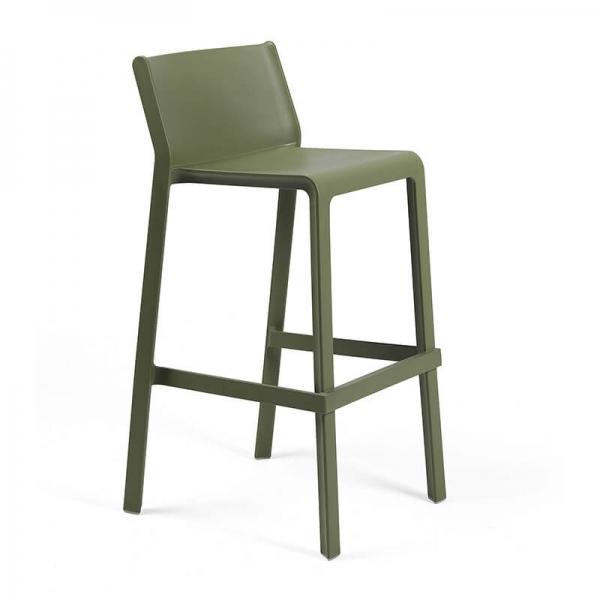 Tabouret de bar moderne empilable en plastique vert agave - Trill stool - 4