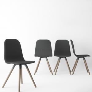 Chaise scandinave en tissu anthracite avec pieds en bois naturel - Nuba