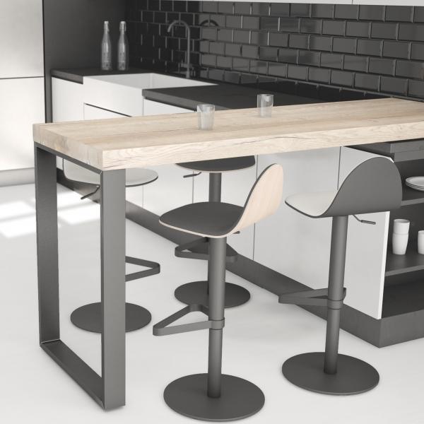 Tabouret réglable et pivotant design en bois - Tabu - 3